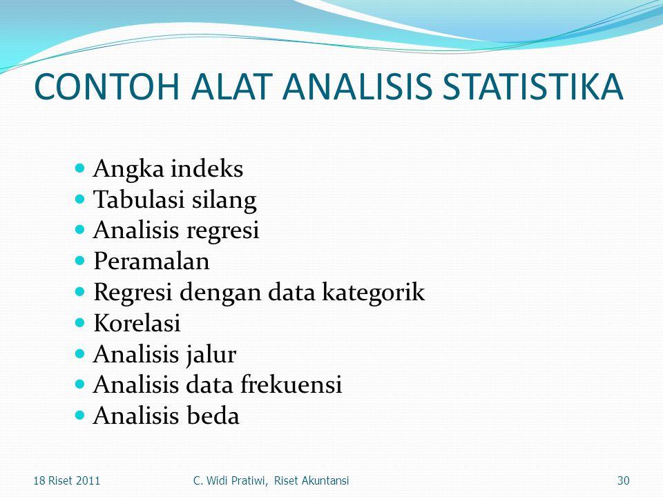 CONTOH ALAT ANALISIS STATISTIKA Angka indeks Tabulasi silang Analisis regresi Peramalan Regresi dengan data kategorik Korelasi Analisis jalur Analisis