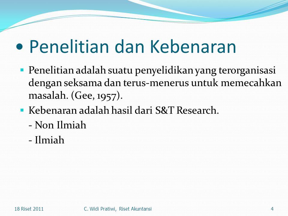 Penelitian dan Kebenaran  Penelitian adalah suatu penyelidikan yang terorganisasi dengan seksama dan terus-menerus untuk memecahkan masalah. (Gee, 19