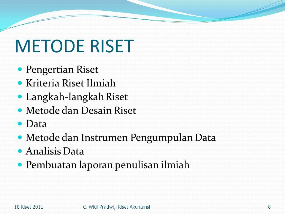 METODE RISET Pengertian Riset Kriteria Riset Ilmiah Langkah-langkah Riset Metode dan Desain Riset Data Metode dan Instrumen Pengumpulan Data Analisis