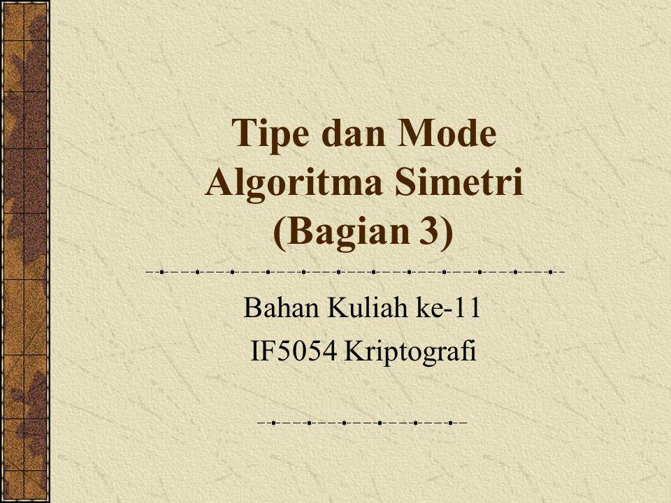 Tipe dan Mode Algoritma Simetri (Bagian 3) Bahan Kuliah ke-11 IF5054 Kriptografi