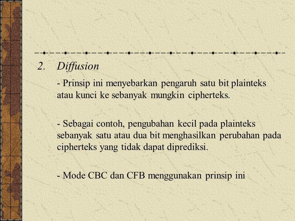 2.Diffusion - Prinsip ini menyebarkan pengaruh satu bit plainteks atau kunci ke sebanyak mungkin cipherteks.