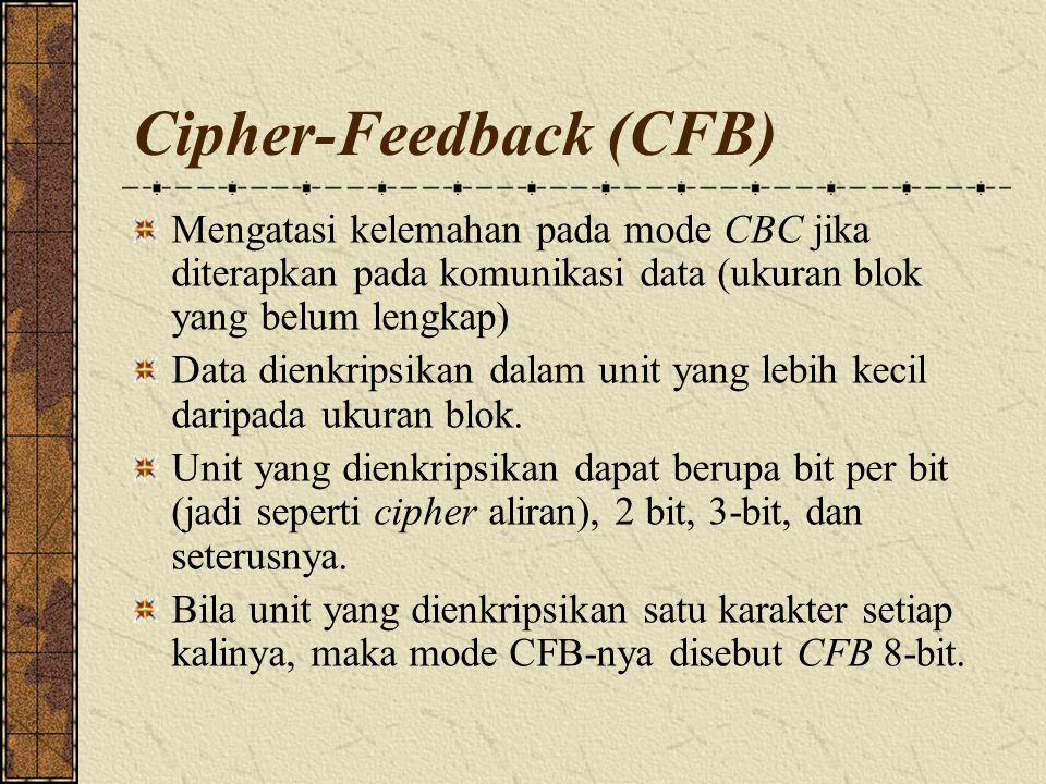 Cipher-Feedback (CFB) Mengatasi kelemahan pada mode CBC jika diterapkan pada komunikasi data (ukuran blok yang belum lengkap) Data dienkripsikan dalam unit yang lebih kecil daripada ukuran blok.