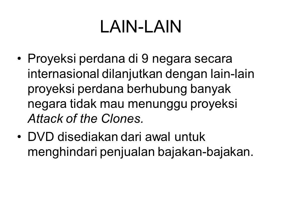 LAIN-LAIN Proyeksi perdana di 9 negara secara internasional dilanjutkan dengan lain-lain proyeksi perdana berhubung banyak negara tidak mau menunggu proyeksi Attack of the Clones.