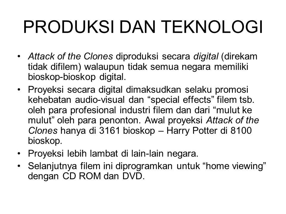 PRODUKSI DAN TEKNOLOGI Attack of the Clones diproduksi secara digital (direkam tidak difilem) walaupun tidak semua negara memiliki bioskop-bioskop digital.