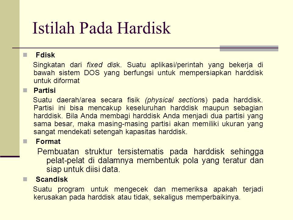 Fdisk Singkatan dari fixed disk.