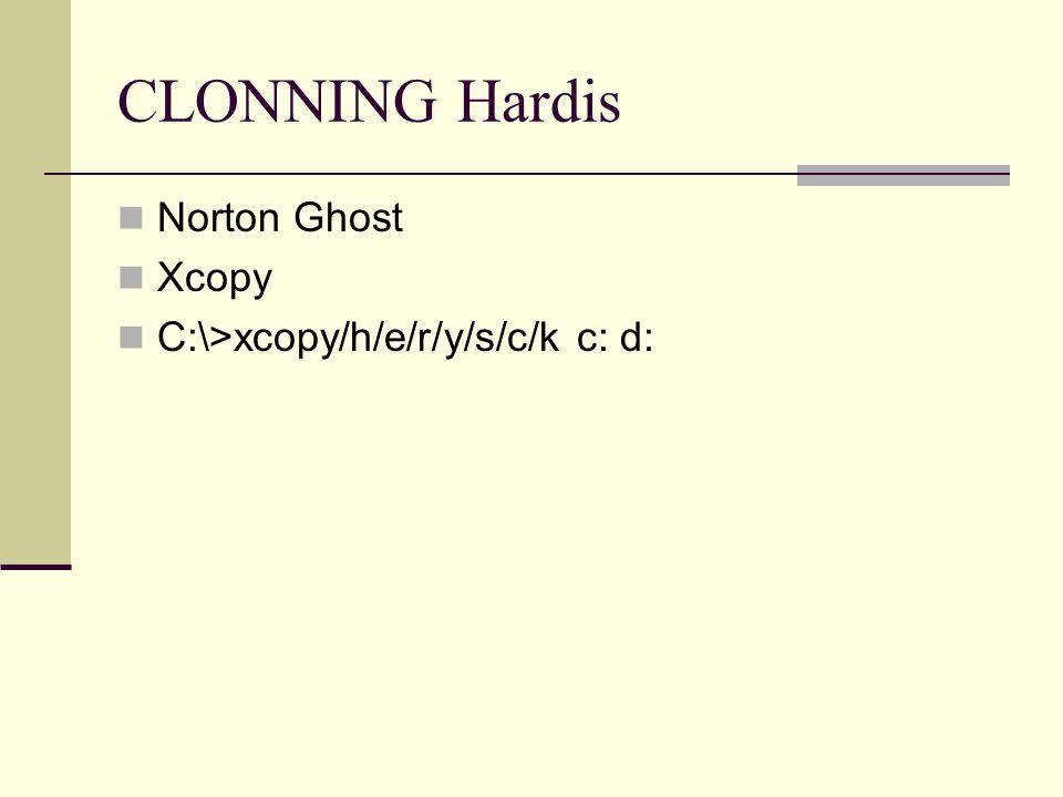 CLONNING Hardis Norton Ghost Xcopy C:\>xcopy/h/e/r/y/s/c/k c: d: