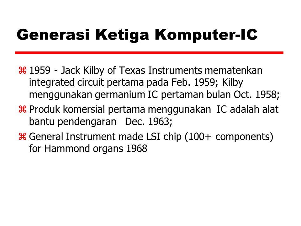 Generasi Ketiga Komputer-IC  1959 - Jack Kilby of Texas Instruments mematenkan integrated circuit pertama pada Feb. 1959; Kilby menggunakan germanium