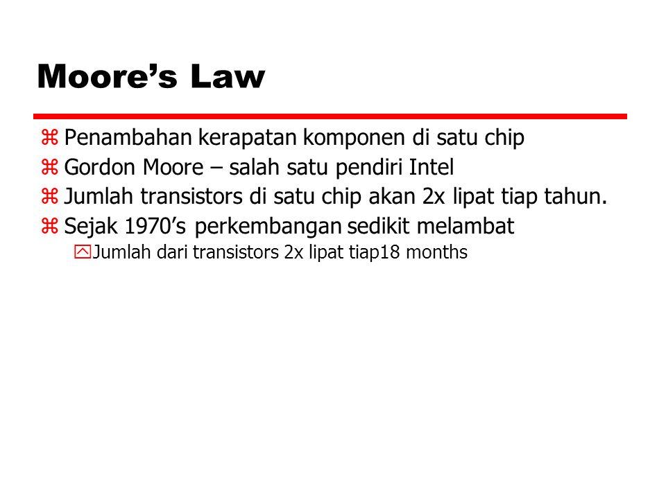 Moore's Law  Penambahan kerapatan komponen di satu chip  Gordon Moore – salah satu pendiri Intel  Jumlah transistors di satu chip akan 2x lipat tia