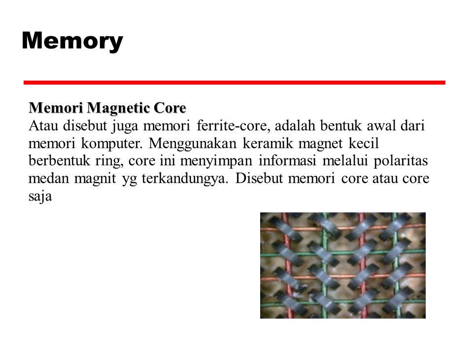 Memory Memori Magnetic Core Atau disebut juga memori ferrite-core, adalah bentuk awal dari memori komputer. Menggunakan keramik magnet kecil berbentuk