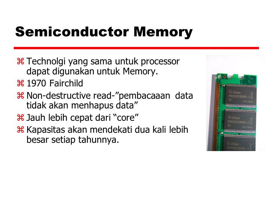 """Semiconductor Memory  Technolgi yang sama untuk processor dapat digunakan untuk Memory.  1970 Fairchild  Non-destructive read-""""pembacaaan data tida"""