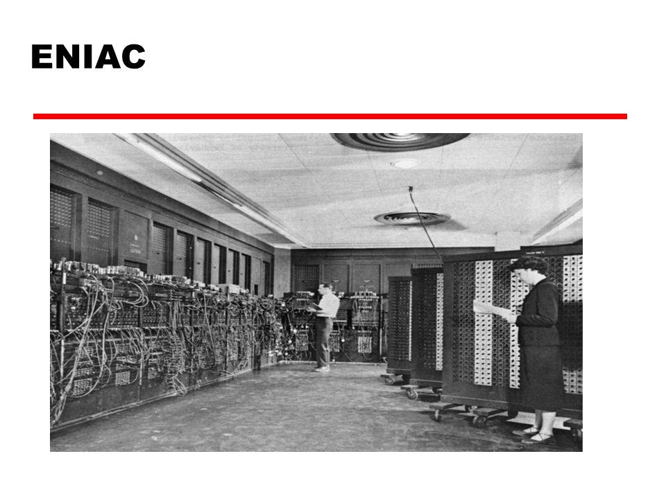ENIAC - details  Decimal (not binary)  20 accumulators of 10 digits  Programmed secara manual dengan switches  18,000 tabung (vacuum tubes)  30 tons berat  15,000 square feet  140 kW kosumsi listrik  5,000 pejumlahan per detik