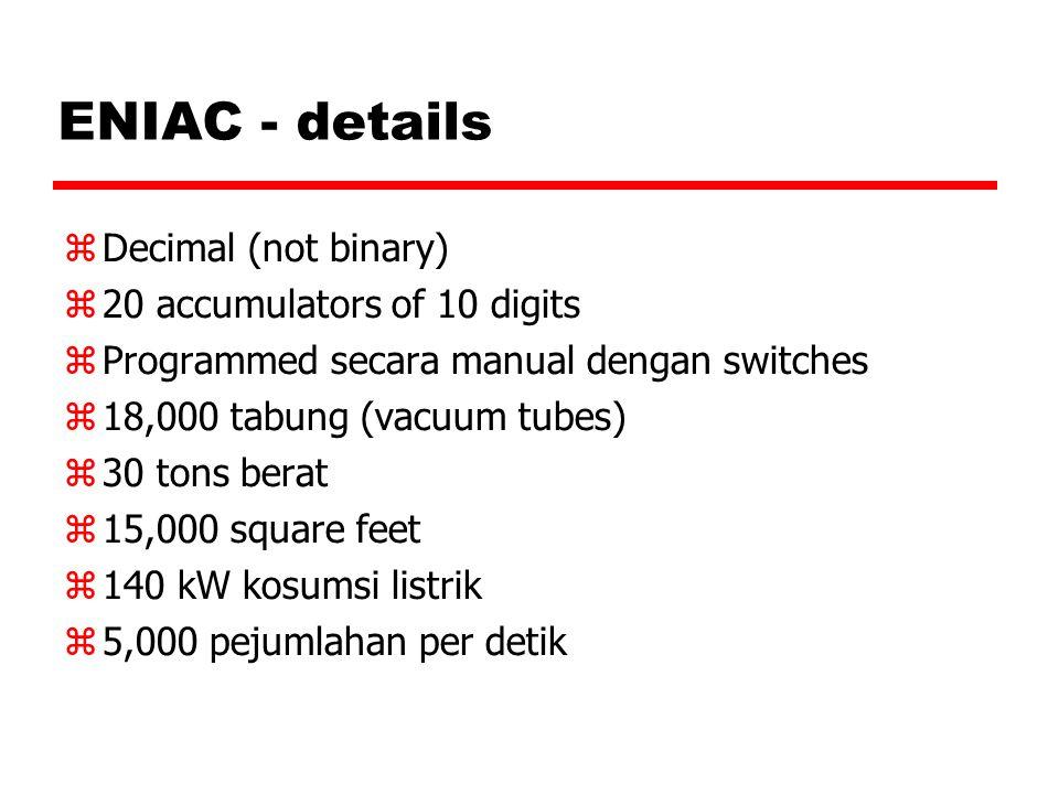 Von Neumann/Turing  Konsep Stored Program  Main memory menyimpan programs dan data  ALU beroperasi pada data biner  Control unit menterjemahkan instruksi dari memory dan kemudian meng-eksekusinya.
