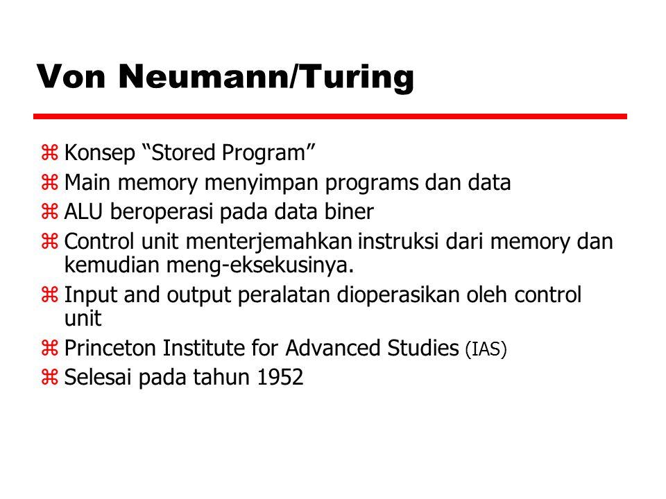 """Von Neumann/Turing  Konsep """"Stored Program""""  Main memory menyimpan programs dan data  ALU beroperasi pada data biner  Control unit menterjemahkan"""