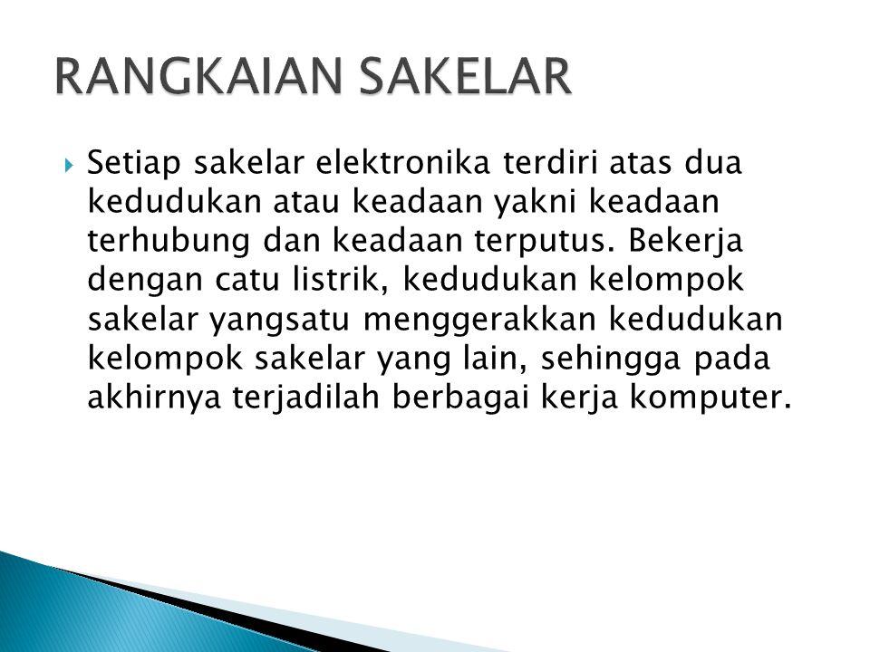  Setiap sakelar elektronika terdiri atas dua kedudukan atau keadaan yakni keadaan terhubung dan keadaan terputus. Bekerja dengan catu listrik, kedudu