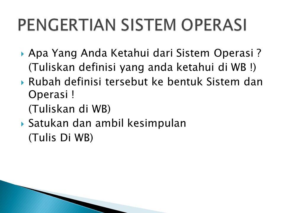  Apa Yang Anda Ketahui dari Sistem Operasi ? (Tuliskan definisi yang anda ketahui di WB !)  Rubah definisi tersebut ke bentuk Sistem dan Operasi ! (