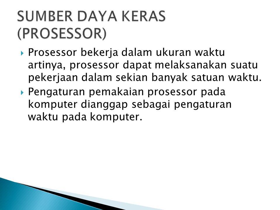  Prosessor bekerja dalam ukuran waktu artinya, prosessor dapat melaksanakan suatu pekerjaan dalam sekian banyak satuan waktu.  Pengaturan pemakaian