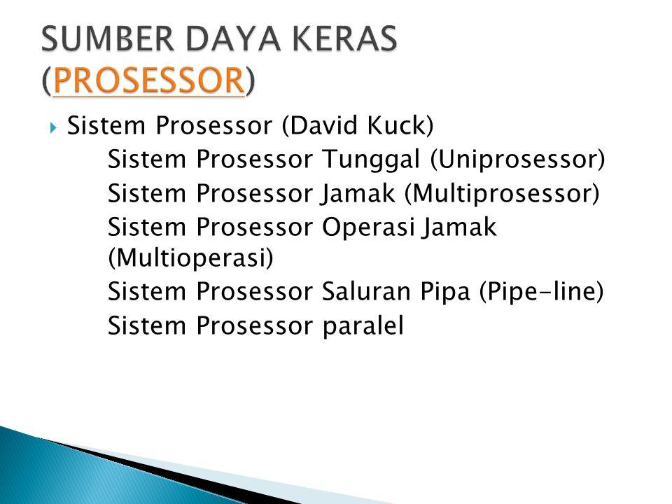  Sistem Prosessor (David Kuck) Sistem Prosessor Tunggal (Uniprosessor) Sistem Prosessor Jamak (Multiprosessor) Sistem Prosessor Operasi Jamak (Multio
