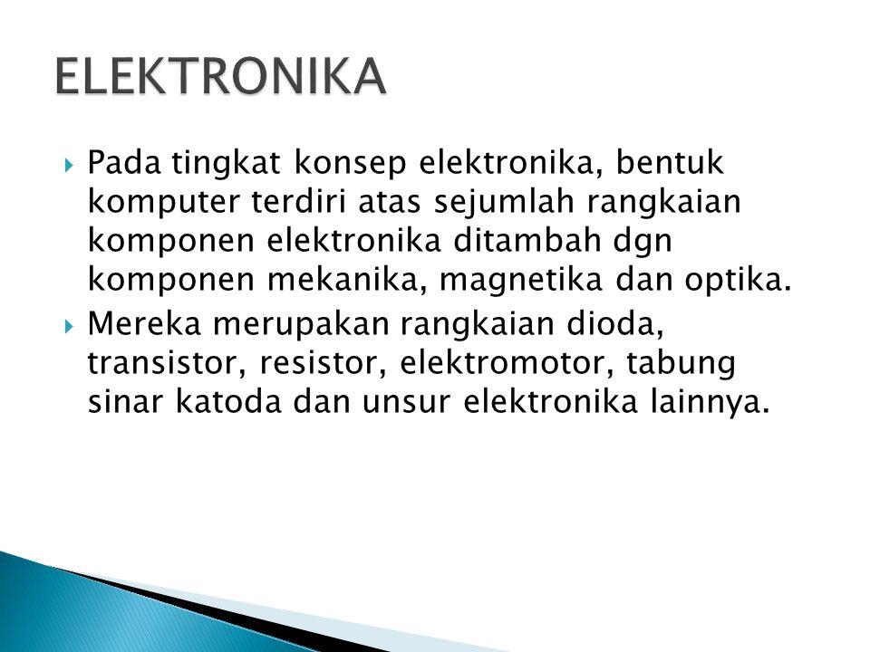  Pada tingkat konsep elektronika, bentuk komputer terdiri atas sejumlah rangkaian komponen elektronika ditambah dgn komponen mekanika, magnetika dan