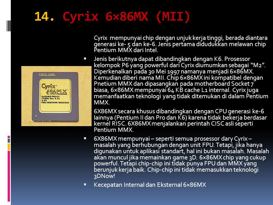 Cyrix mempunyai chip dengan unjuk kerja tinggi, berada diantara generasi ke- 5 dan ke-6. Jenis pertama didudukkan melawan chip Pentium MMX dari Intel.