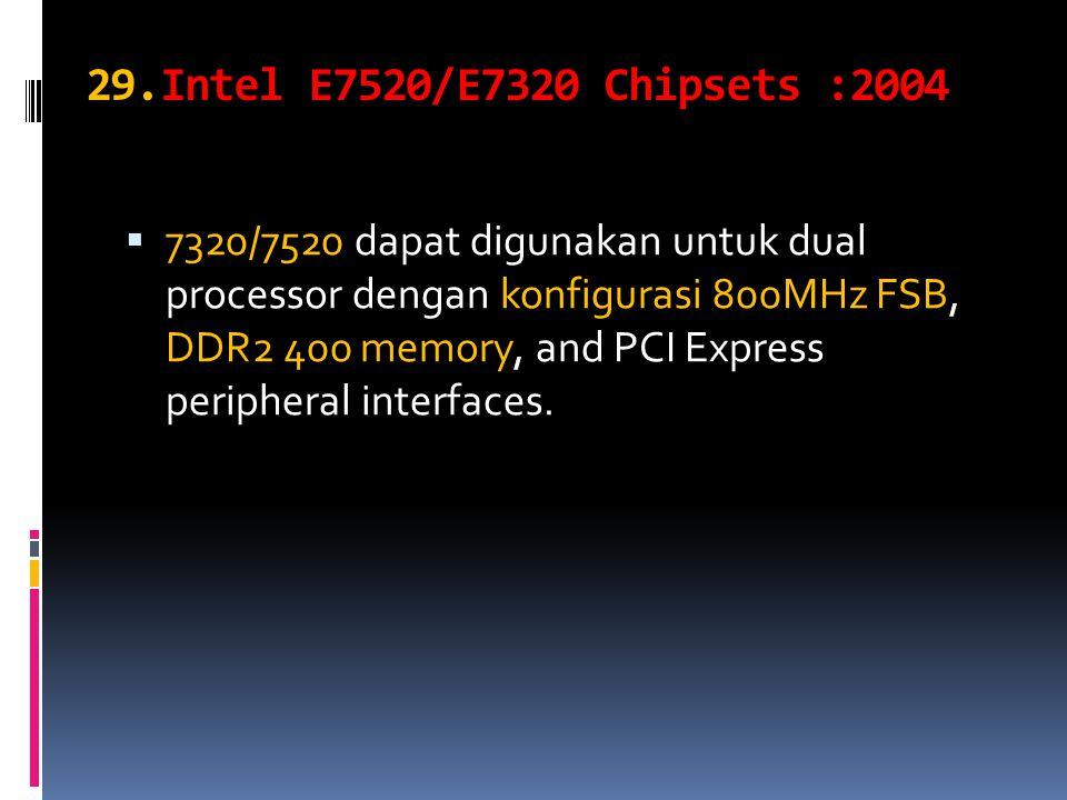 29.Intel E7520/E7320 Chipsets :2004  7320/7520 dapat digunakan untuk dual processor dengan konfigurasi 800MHz FSB, DDR2 400 memory, and PCI Express peripheral interfaces.