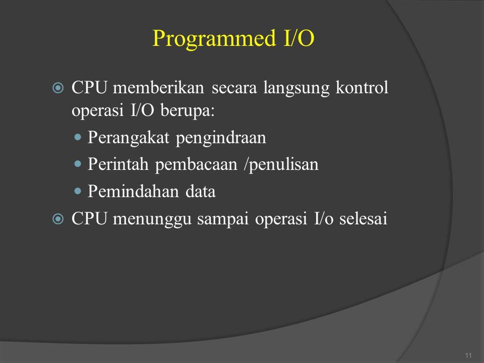 Programmed I/O  CPU memberikan secara langsung kontrol operasi I/O berupa: Perangakat pengindraan Perintah pembacaan /penulisan Pemindahan data  CPU menunggu sampai operasi I/o selesai 11