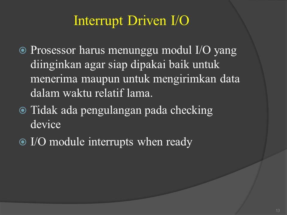 Interrupt Driven I/O  Prosessor harus menunggu modul I/O yang diinginkan agar siap dipakai baik untuk menerima maupun untuk mengirimkan data dalam wa