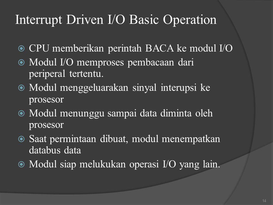 Interrupt Driven I/O Basic Operation  CPU memberikan perintah BACA ke modul I/O  Modul I/O memproses pembacaan dari periperal tertentu.