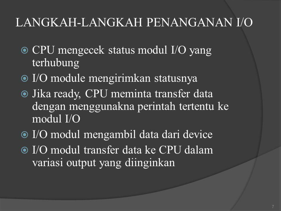 LANGKAH-LANGKAH PENANGANAN I/O  CPU mengecek status modul I/O yang terhubung  I/O module mengirimkan statusnya  Jika ready, CPU meminta transfer data dengan menggunakna perintah tertentu ke modul I/O  I/O modul mengambil data dari device  I/O modul transfer data ke CPU dalam variasi output yang diinginkan 7