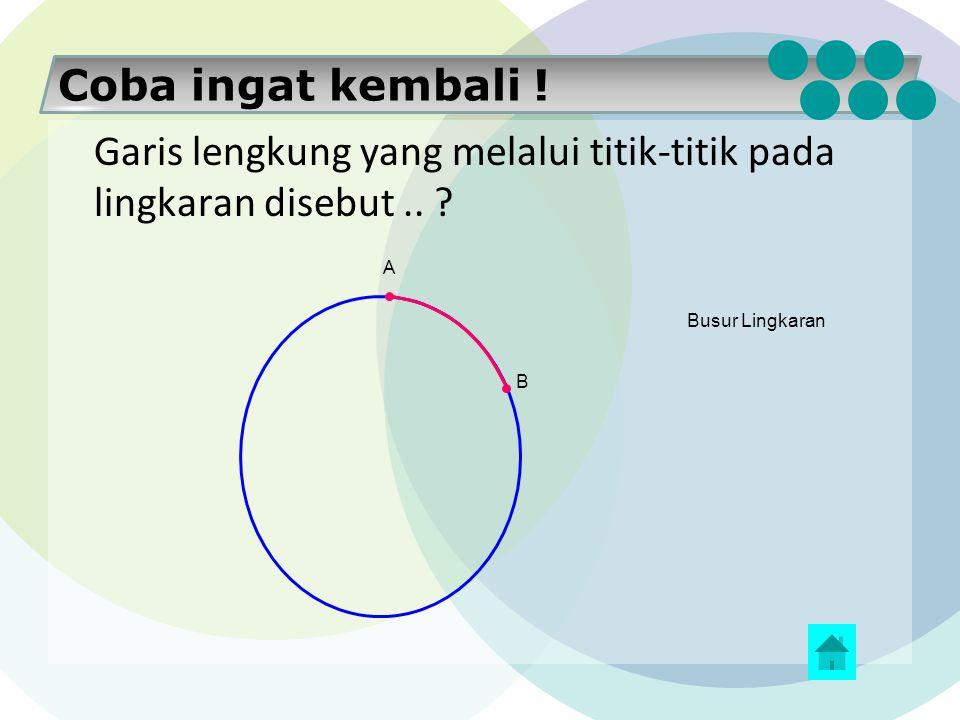 Coba ingat kembali ! Ruas garis yang menghubungkan pusat lingkaran ke sebarang titik pada lingkaran disebut.. ? O B Jari-Jari Lingkaran