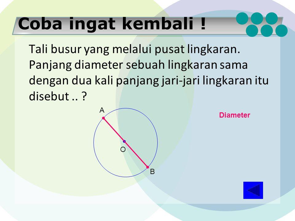 Coba ingat kembali ! Ruas garis yang menghubungkan sebarang dua titik pada lingkaran disebut.. ? A B Tali Busur