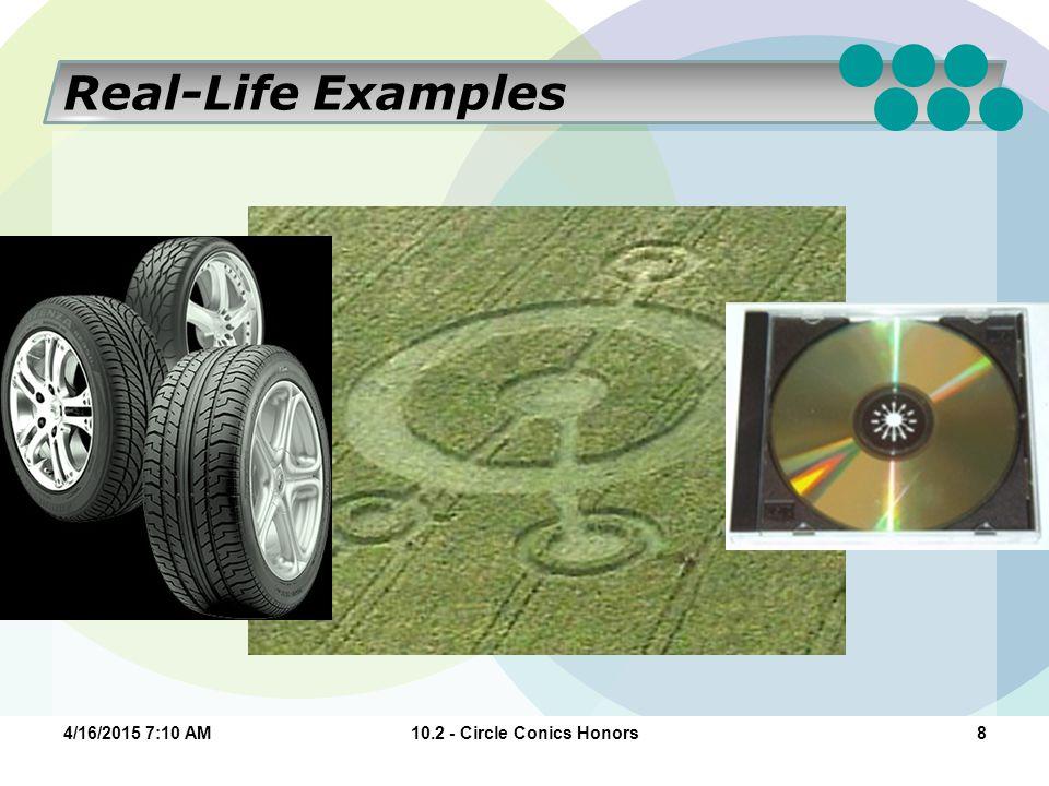 10.2 - Circle Conics Honors84/16/2015 7:11 AM Real-Life Examples