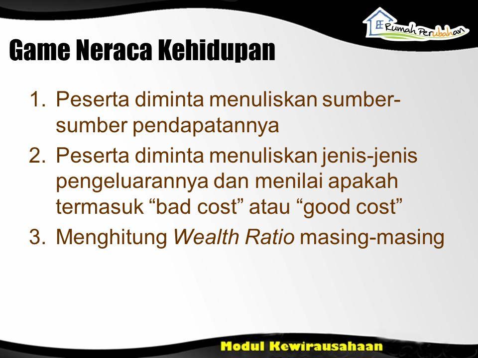 Game Neraca Kehidupan 1.Peserta diminta menuliskan sumber- sumber pendapatannya 2.Peserta diminta menuliskan jenis-jenis pengeluarannya dan menilai ap