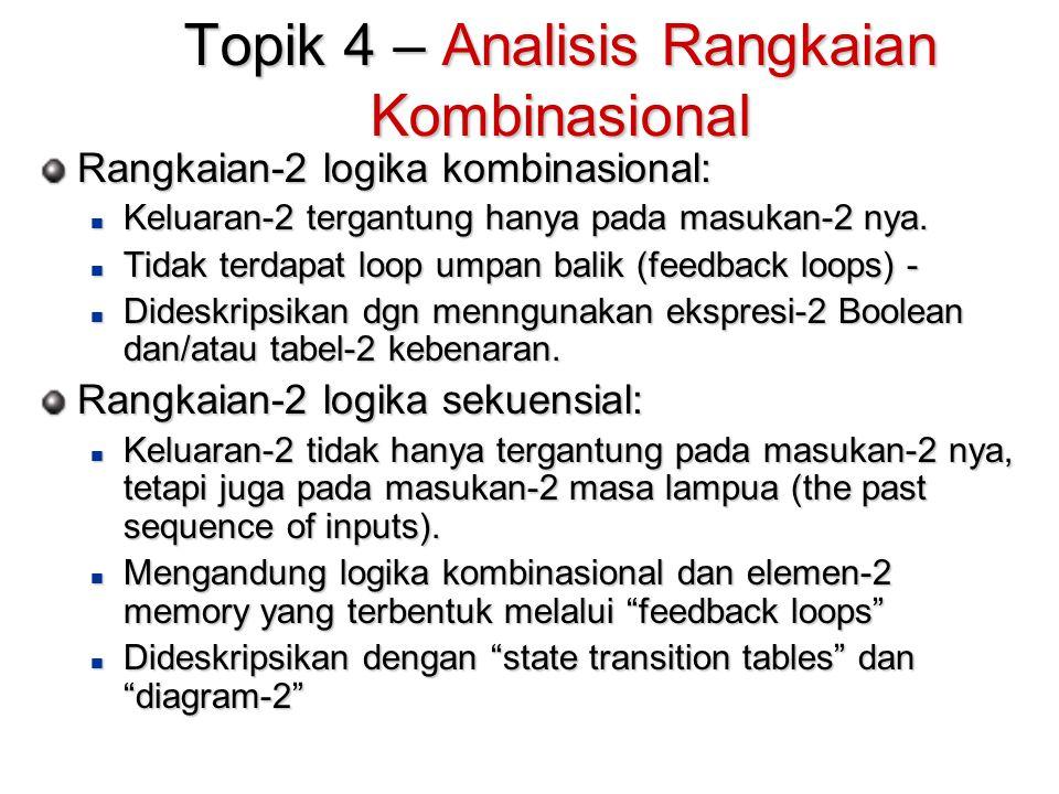 Topik 4 – Analisis Rangkaian Kombinasional Rangkaian-2 logika kombinasional: Keluaran-2 tergantung hanya pada masukan-2 nya.