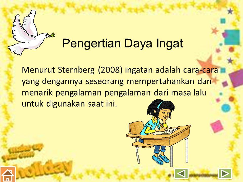 Jika mahasiswa memiliki daya ingat yang baik, maka prestasi di sekolah dan prestasi dalam kehidupannya kemungkinan besar juga baik.