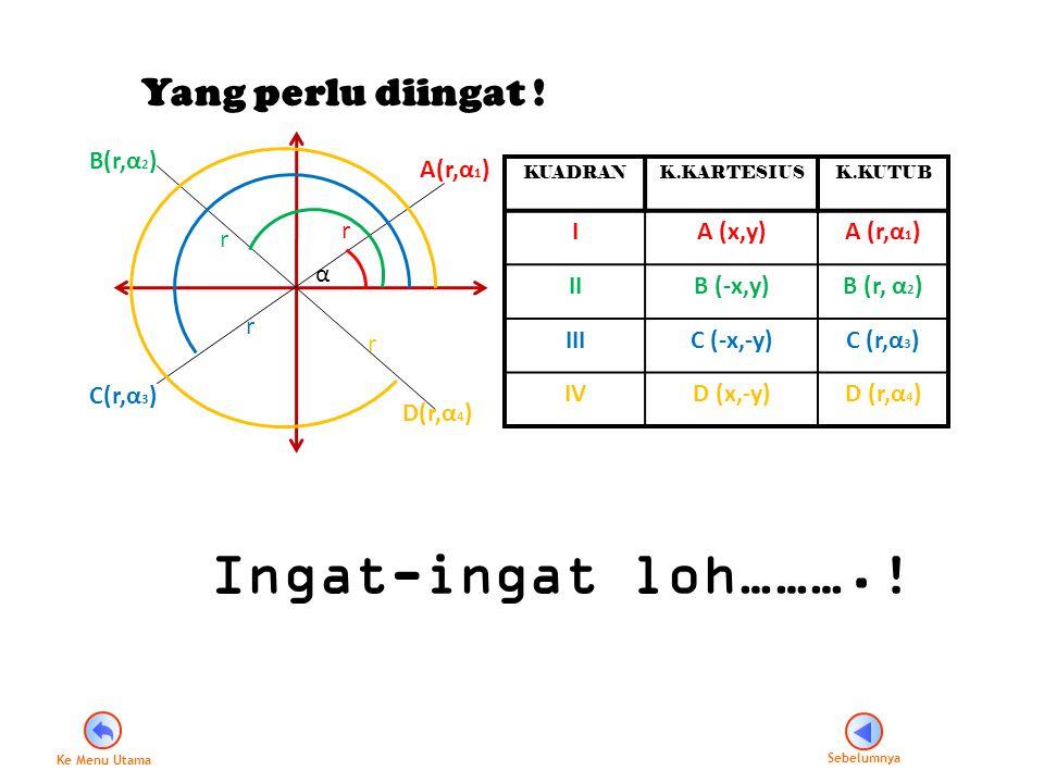 Yang perlu diingat ! r r r r α A(r,α 1 ) B(r,α 2 ) D(r,α 4 ) C(r,α 3 ) KUADRANK.KARTESIUSK.KUTUB IA (x,y)A (r,α 1 ) IIB (-x,y)B (r, α 2 ) IIIC (-x,-y)