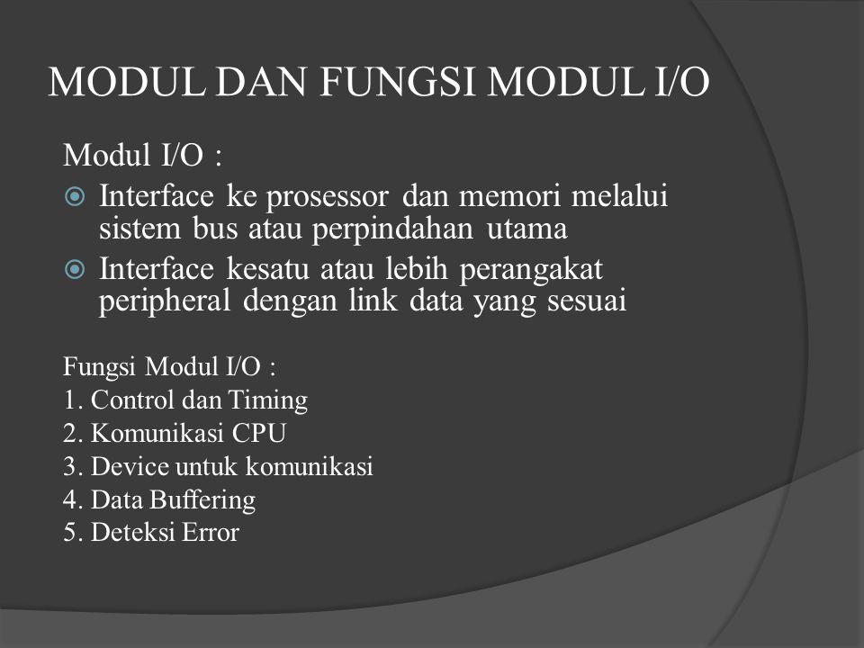 MODUL DAN FUNGSI MODUL I/O Modul I/O :  Interface ke prosessor dan memori melalui sistem bus atau perpindahan utama  Interface kesatu atau lebih per