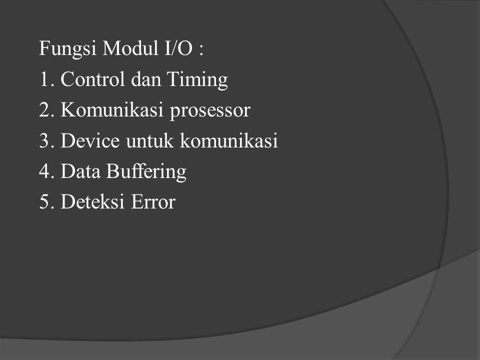 Fungsi Modul I/O : 1. Control dan Timing 2. Komunikasi prosessor 3. Device untuk komunikasi 4. Data Buffering 5. Deteksi Error