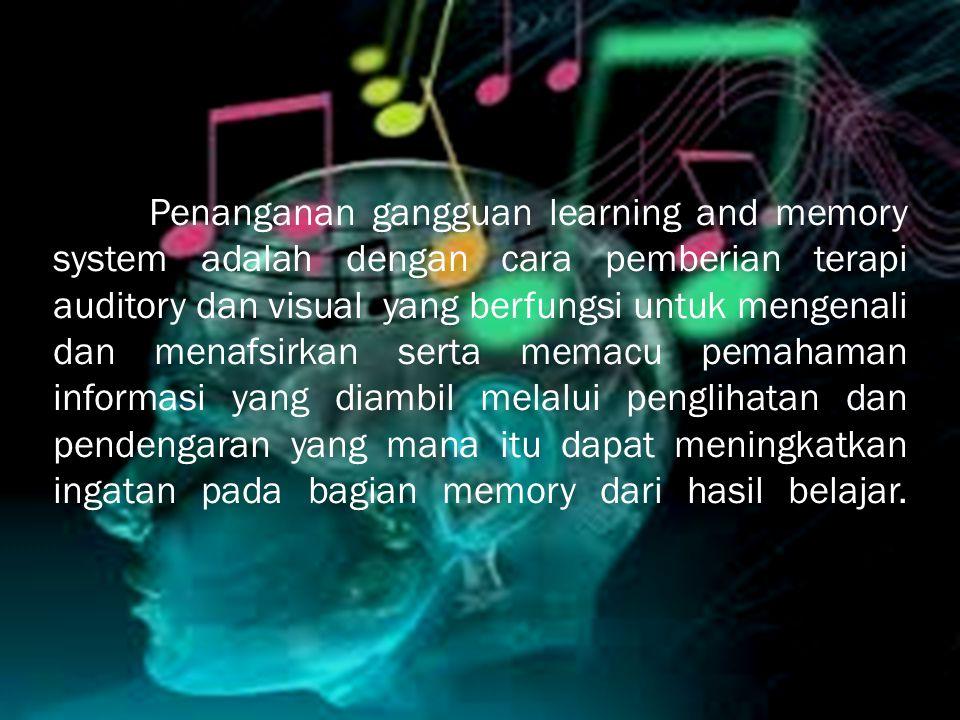 Penanganan gangguan learning and memory system adalah dengan cara pemberian terapi auditory dan visual yang berfungsi untuk mengenali dan menafsirkan serta memacu pemahaman informasi yang diambil melalui penglihatan dan pendengaran yang mana itu dapat meningkatkan ingatan pada bagian memory dari hasil belajar.