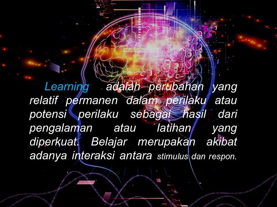 Learning adalah perubahan yang relatif permanen dalam perilaku atau potensi perilaku sebagai hasil dari pengalaman atau latihan yang diperkuat.