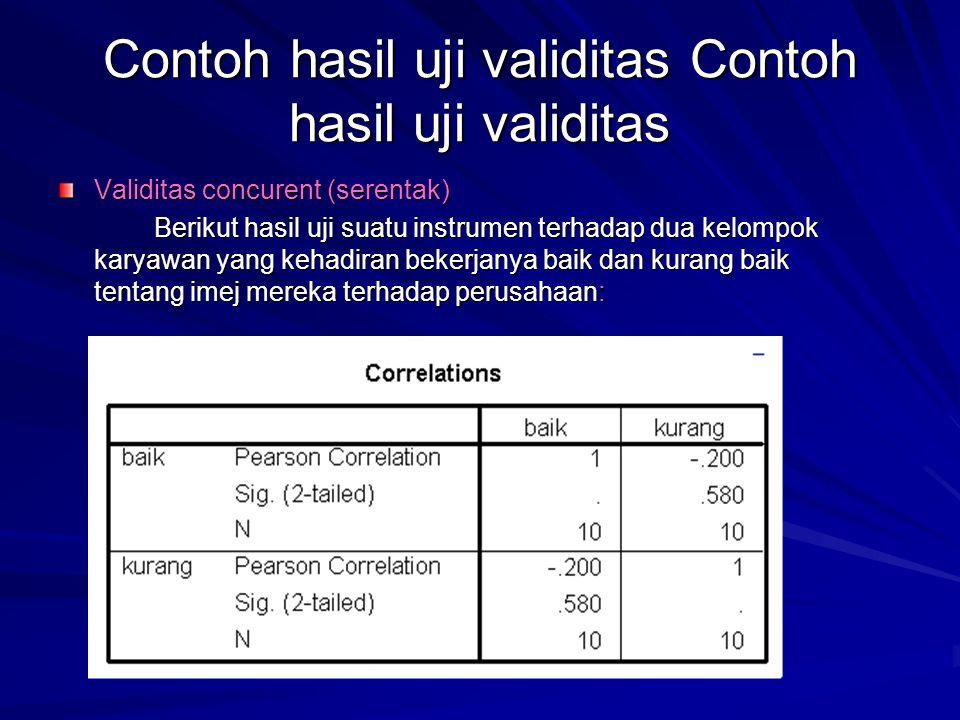 Contoh hasil uji validitas Contoh hasil uji validitas Validitas concurent (serentak) Berikut hasil uji suatu instrumen terhadap dua kelompok karyawan