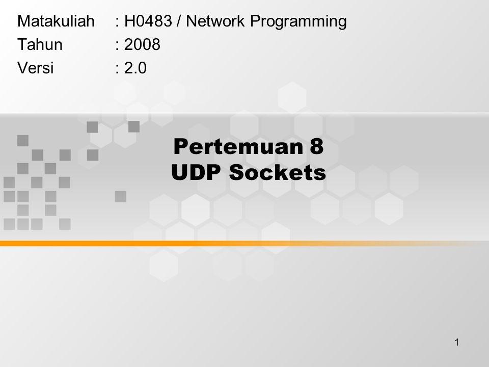 1 Pertemuan 8 UDP Sockets Matakuliah: H0483 / Network Programming Tahun: 2008 Versi: 2.0