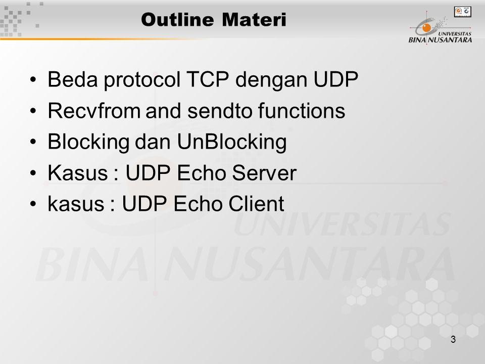 3 Outline Materi Beda protocol TCP dengan UDP Recvfrom and sendto functions Blocking dan UnBlocking Kasus : UDP Echo Server kasus : UDP Echo Client