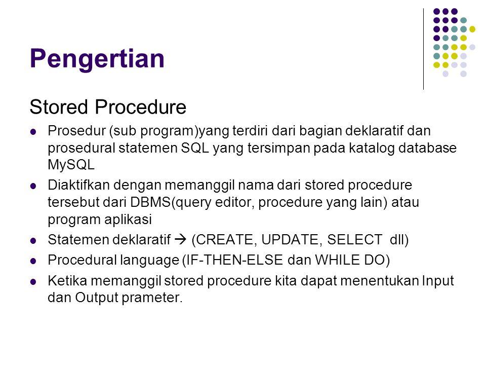 Pengertian Stored Procedure Prosedur (sub program)yang terdiri dari bagian deklaratif dan prosedural statemen SQL yang tersimpan pada katalog database