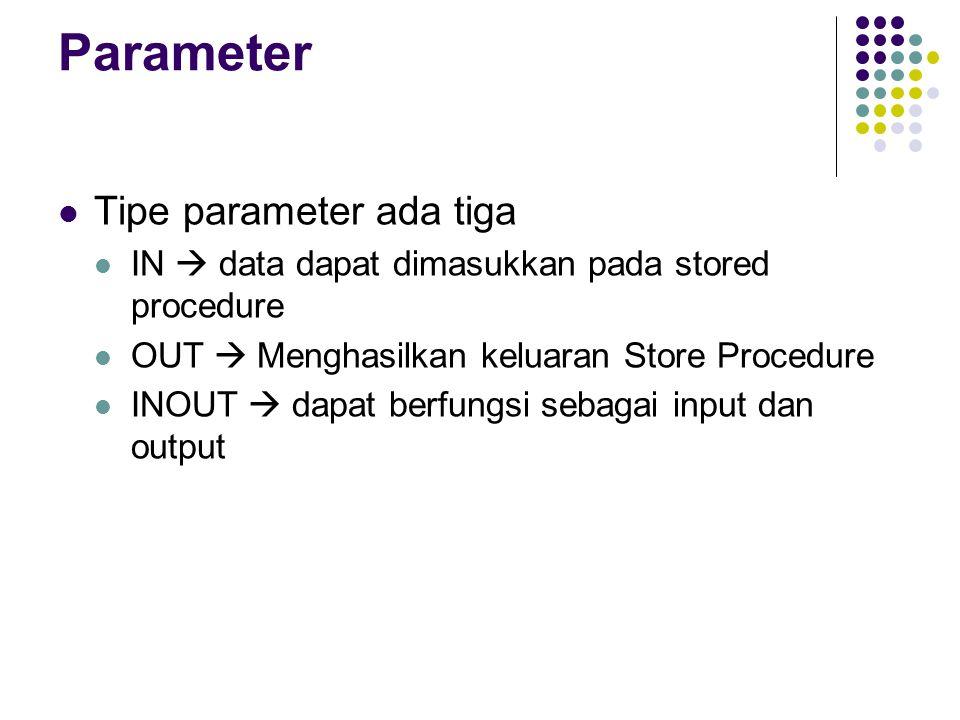 Parameter Tipe parameter ada tiga IN  data dapat dimasukkan pada stored procedure OUT  Menghasilkan keluaran Store Procedure INOUT  dapat berfungsi