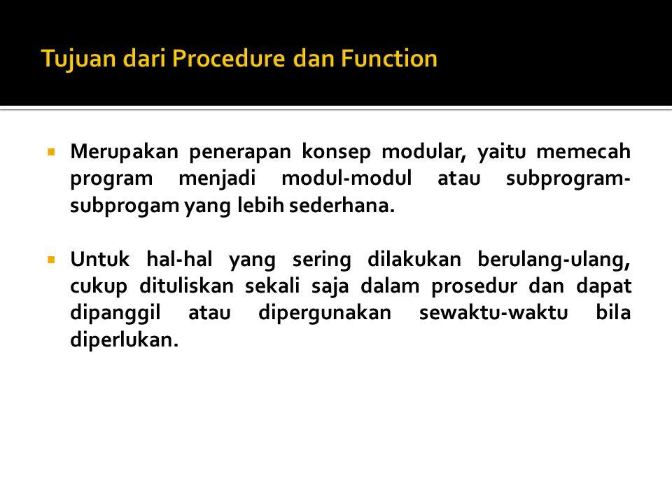  Merupakan penerapan konsep modular, yaitu memecah program menjadi modul-modul atau subprogram- subprogam yang lebih sederhana.  Untuk hal-hal yang