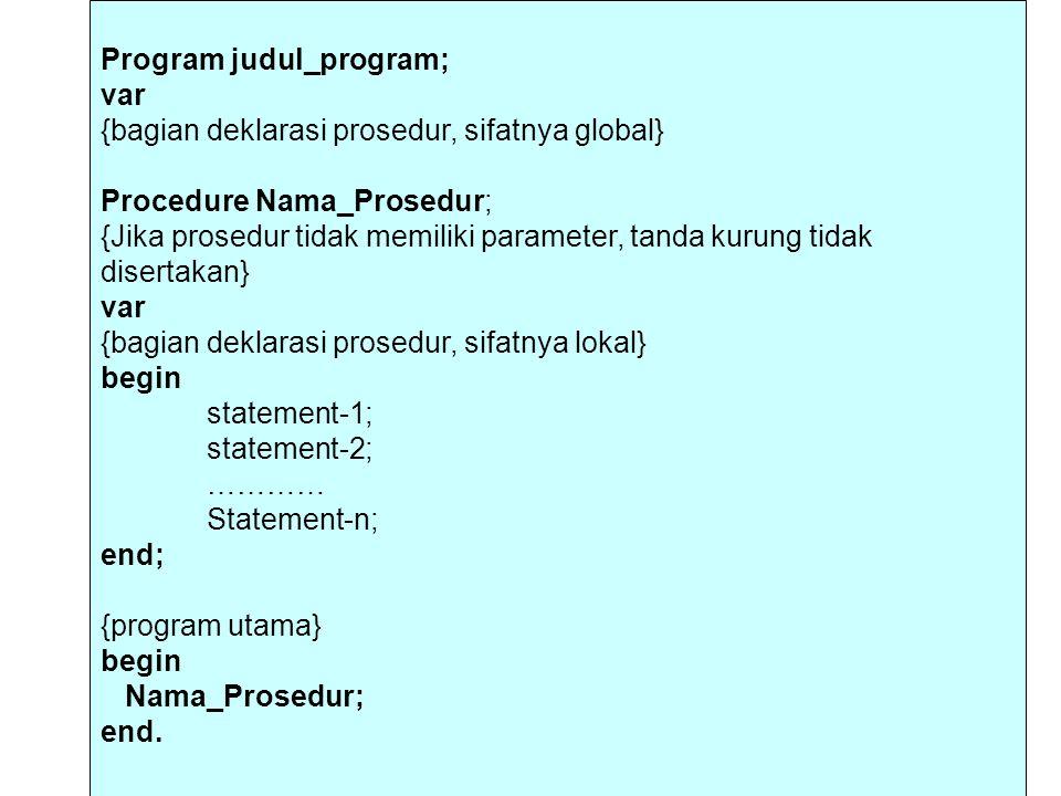 Program judul_program; var {bagian deklarasi prosedur, sifatnya global} Procedure Nama_Prosedur; {Jika prosedur tidak memiliki parameter, tanda kurung tidak disertakan} var {bagian deklarasi prosedur, sifatnya lokal} begin statement-1; statement-2; ………… Statement-n; end; {program utama} begin Nama_Prosedur; end.