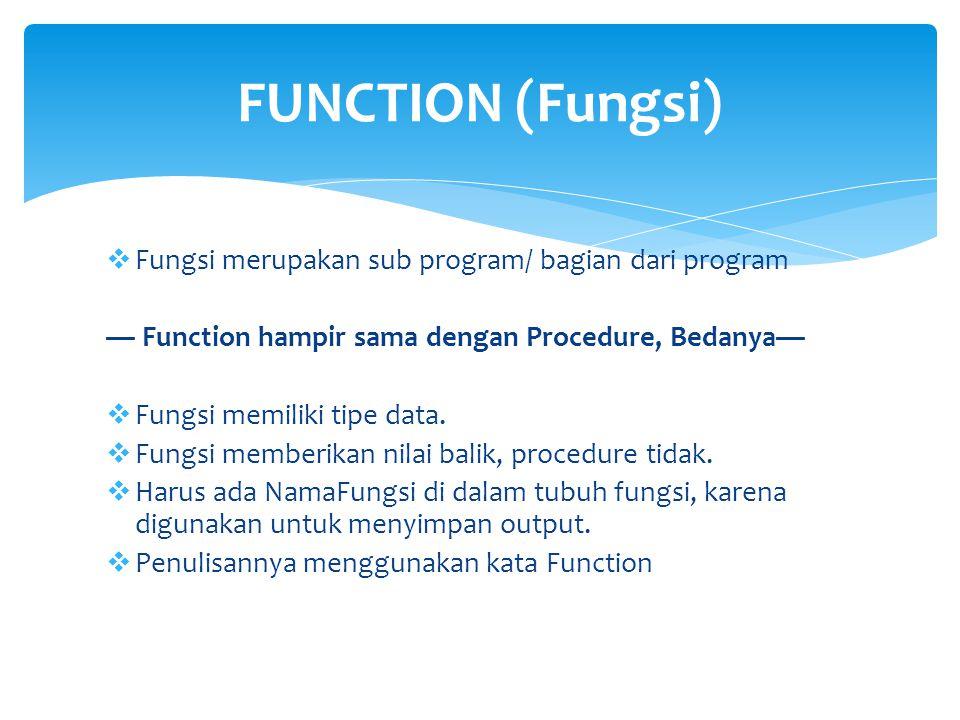  Fungsi merupakan sub program/ bagian dari program — Function hampir sama dengan Procedure, Bedanya—  Fungsi memiliki tipe data.  Fungsi memberikan