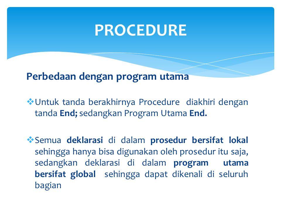 PROGRAM judul_program ; var {sifatnya global} PROCEDURE judul_prosedur ; var {bagian deklarasi prosedur, sifatnya lokal} Begin Statement prosedur ; End ; Begin Statement program utama ; end.