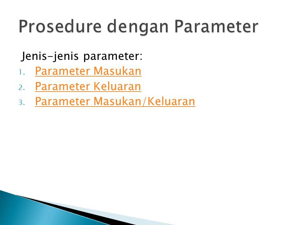Jenis-jenis parameter: 1. Parameter Masukan Parameter Masukan 2. Parameter Keluaran Parameter Keluaran 3. Parameter Masukan/Keluaran Parameter Masukan