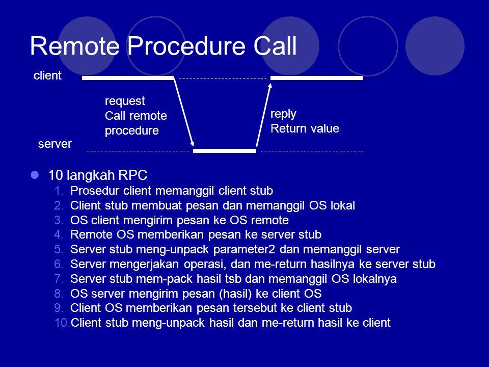 RPC: Parameter Passing Dilakukan oleh (client,server) stub Packing parameter  parameter marshaling Client Process k=add(i,j) proc: add Int: iInt: j Client stub Client OS Server Process k=add(i,j) proc: add Int: iInt: j Server stub Server OS proc: add Int: iInt: j public add(i,j)